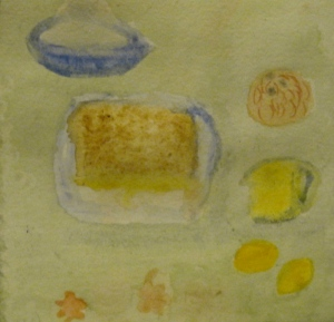 Original watercolor painting shows baked lemon pudding and ingredients.