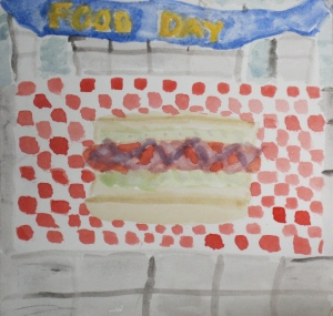 "Original watercolor painting of ""Dojo Dog"" Wushu hot dog."
