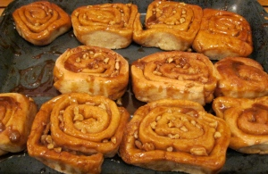 Photo shows whole pecan rolls.