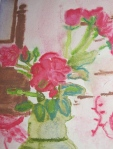 "Villefavard Roses, 5""x7"" watercolor pencil. Sharyn Dimmick."