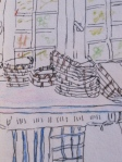 """Justine's Kitchen. 5"""" x 7"""" Ink and Watercolor Pencil. Sharyn Dimmick."""