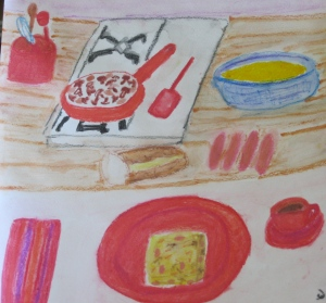 "MK's Breakfast Strata. 12"" x 12"" gouache and watercolor pencil. Sharyn Dimmick."