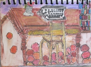 "Shakespeare and Co., Paris. 7""x5"" ink and watercolor pencil. Sharyn Dimmick"