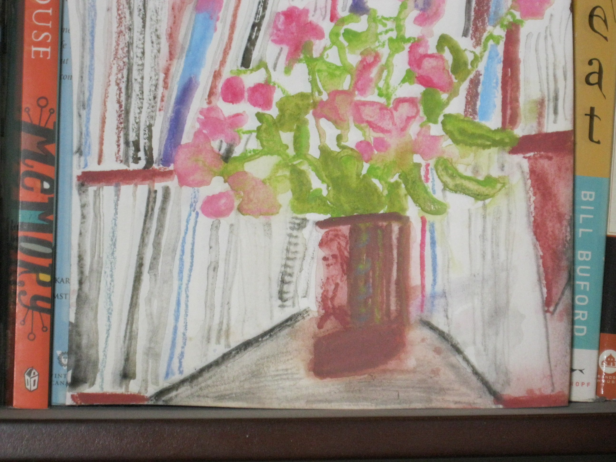 Watercolor painting of sweet peas in vase